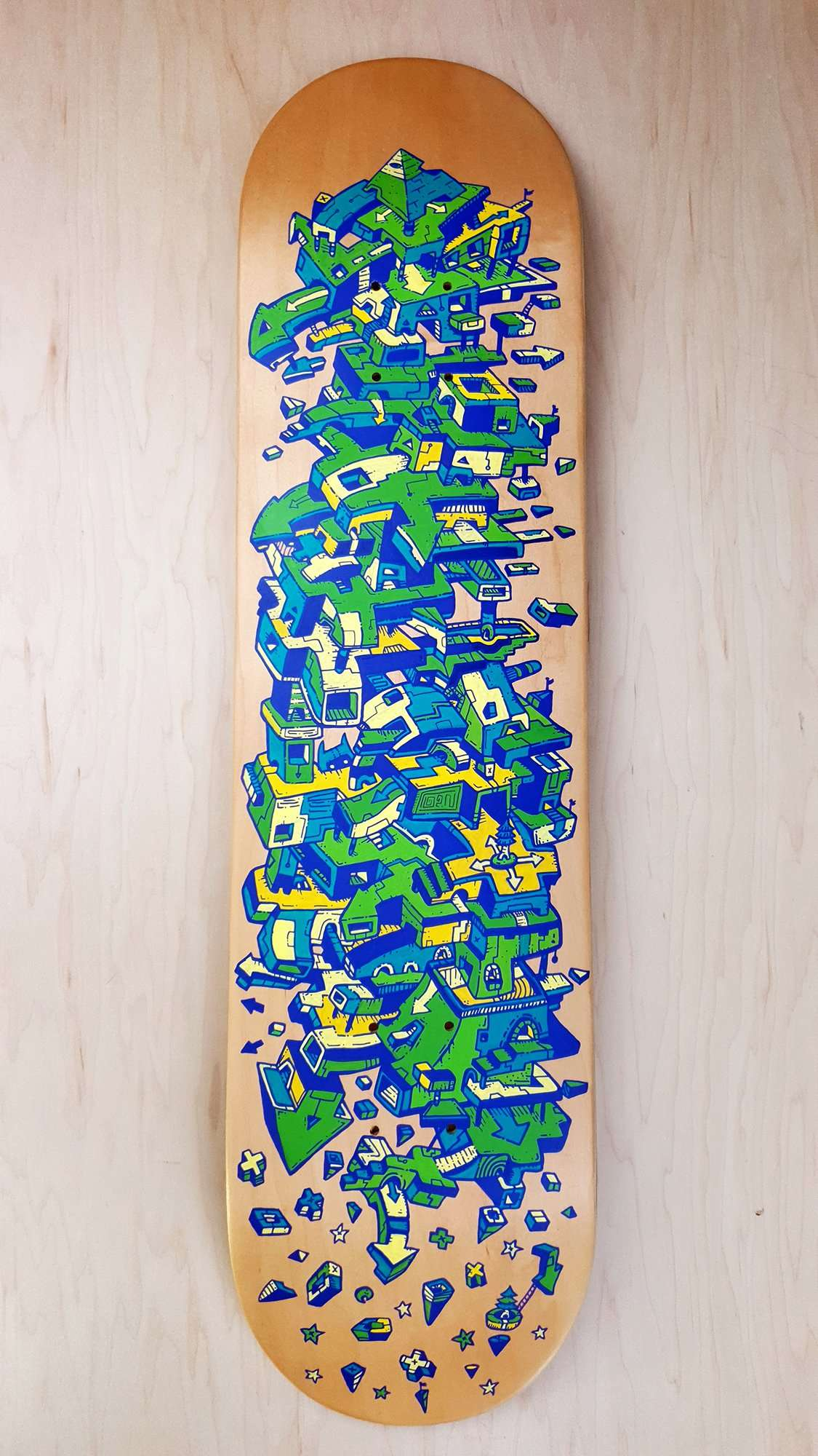 Brogression Skateboard Handpainted artwork by Dune Haggar Graphic Artist
