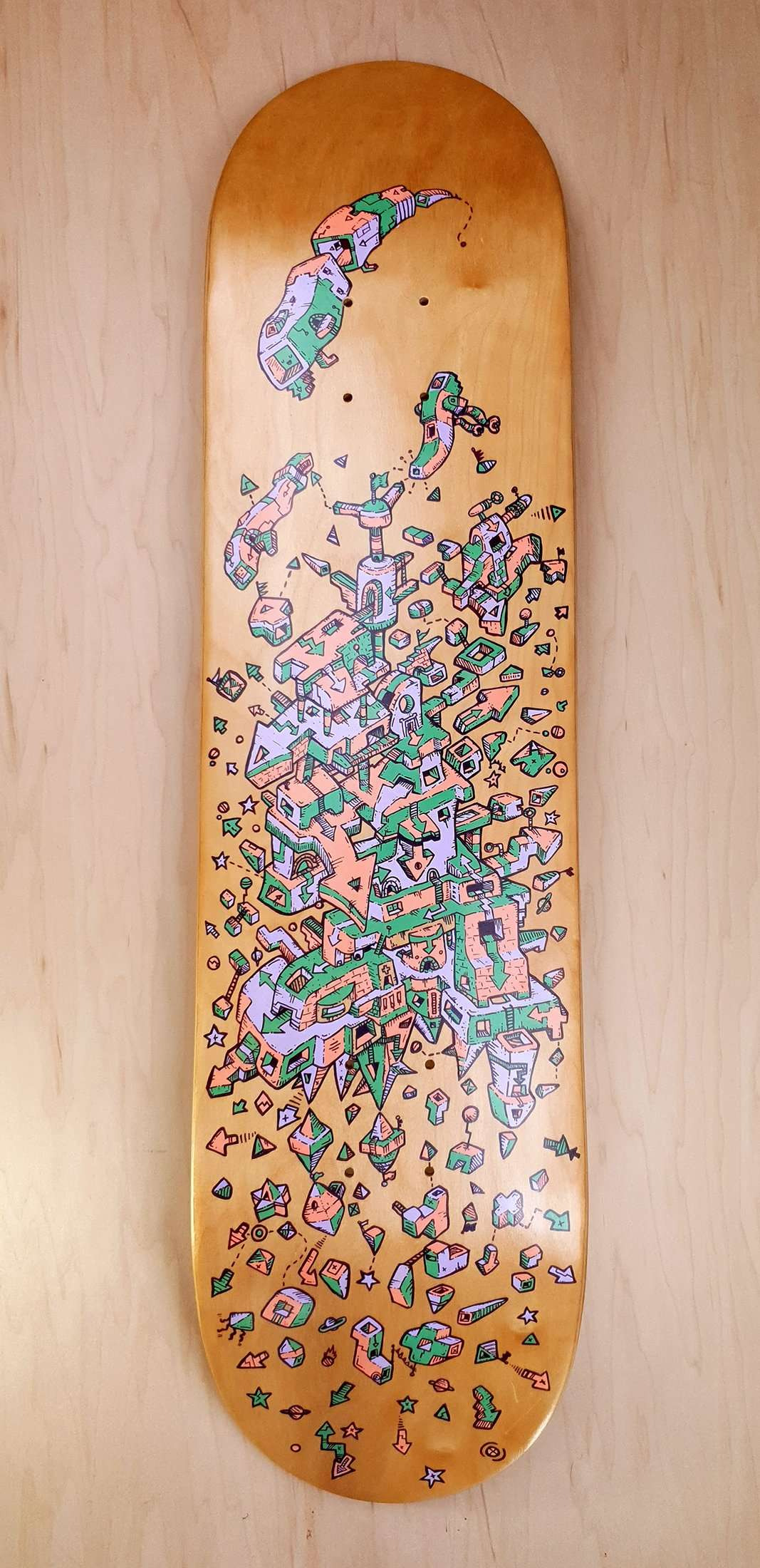introvertical- handpainted skateboard